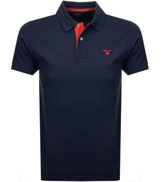 Gant Contrast Collar Rugger Polo T Shirt Navy