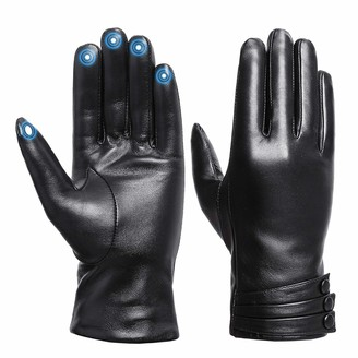 """Acdyion 7.8"""" Palm Length ladies sheepskin leather gloves with Cashmere Lining for Winter/Driving/Full-Hand Touchscreen Texting gloves"""