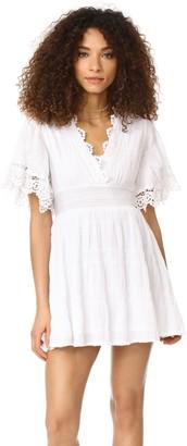 BB Dakota Women's Ethel Smocked Waist Lace Detail Dress