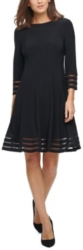 Jessica Howard Illusion-Trim Fit & Flare Dress
