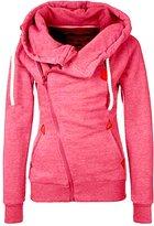 CLJJ7 S-7 Women's Funnel Neck Oblique Zipper Hoodies Sweatshirt