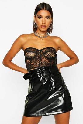 boohoo Vinyl Belted A Line Mini Skirt