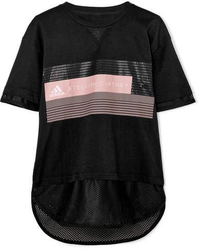 adidas by Stella McCartney Mesh-paneled Printed Cotton-blend Climalite T-shirt - Black