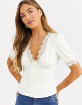Fashion Union button front sateen blouse with eyelash lace trim
