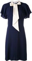 Lanvin contrast neck tie dress - women - Acetate/Viscose - 38
