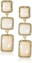 "T Tahari 4-25 Essentials"" White and Gold Faceted Triple Crystal Stone Drop Earrings"