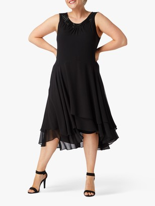 Live Unlimited Black Double Layer Trim Midi Dress, Black