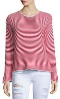 Frame Cropped Jewel-Neck Striped Top, Red Stripe