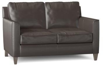 "Thumbnail for your product : Bradington-Young Yorba 54.5"" Genuine Leather Square Arm Loveseat Body Fabric: Aspen Lenado, Leg Color: Mahogany"