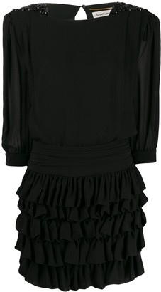Saint Laurent Sequinned Shoulder Ruffled Dress