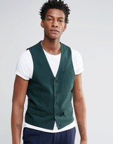 Asos Waistcoat In Green Check