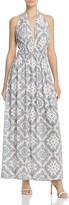 Aqua Printed Deep-v Maxi Dress - 100% Exclusive