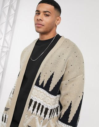 ASOS DESIGN knitted cardigan with pattern