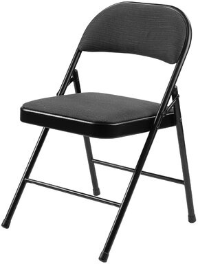 Commercialine 900 Series Fabric Padded Folding Chair (Set of 4) National Public Seating Color: Black