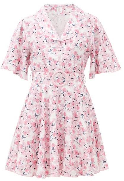 Gül Hürgel Belted Floral-print Linen Mini Dress - Pink Print