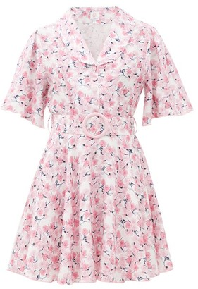 Gül Hürgel Belted Floral-print Linen Mini Dress - Pink Print