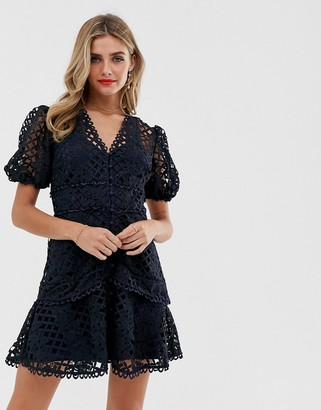 Keepsake Lovable Lace Dress-Navy
