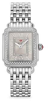 Michele Women's Deco Madison Mid Stainless-Steel Diamond Bracelet Watch