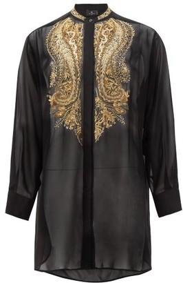 Etro Andravida Metallic-embroidered Silk-chiffon Blouse - Black Gold