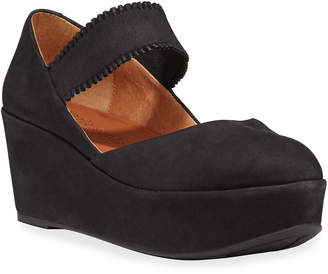 Gentle Souls Nyssa Ruffle-Strap Nubuck Wedge Sandals