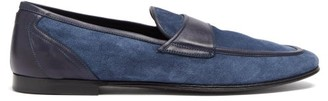 Dolce & Gabbana Leather-trimmed Suede Loafers - Blue
