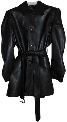 Balenciaga Black Leather Trench coats