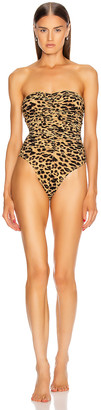 Norma Kamali Slinky Marissa Swimsuit in Golden Leopard | FWRD