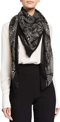 Saint Laurent Grand Paisley & Leopard Wool Scarf