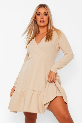 boohoo Plus Ruffle Wrap Skater Dress
