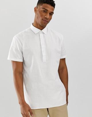 Selected short sleeve half placket linen shirt-White