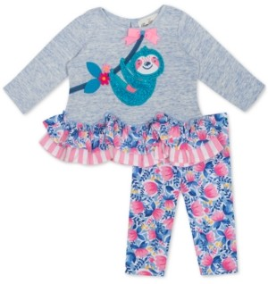 Rare Editions Baby Girls 2-Pc. Sloth Tunic & Leggings Set