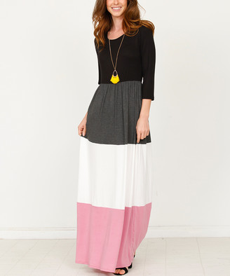 egs by eloges Women's Maxi Dresses Charcoal - Charcoal Color Block Maxi Dress - Women