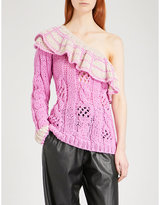 Natasha Zinko Frilled off-the-shoulder wool-blend jumper