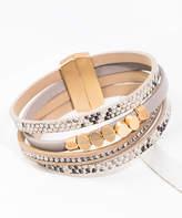 Saachi Style Style Women's Bracelets Taupe - Goldtone & Gray Snake Print Layered Leather Bracelet