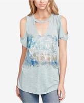 Jessica Simpson Juniors' Ula Desert Cold-Shoulder Graphic T-Shirt