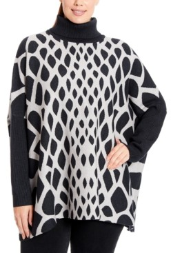 Joseph A Plus Size Abstract Turtleneck Poncho
