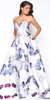 Mac Duggal Strapless Sweetheart Gemstone Print Evening Gown