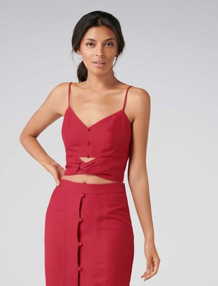 Forever New Naomi Co-ord Twist Front Button Cami - Cherry - 4