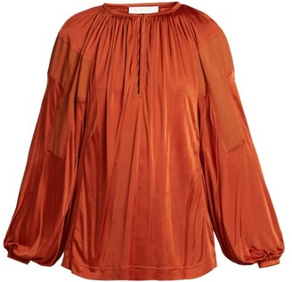 Chloé Balloon-sleeve Satin Top - Womens - Dark Red