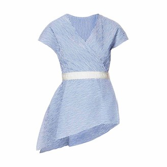 Diana Arno Hanna Asymmetric Top In Blue Stripe