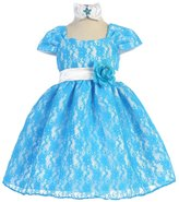 Ellie Kids Baby Girls Floral Floral Lace Overlay Sash Special Occasion Dress 24M