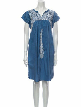 Ulla Johnson V-Neck Knee-Length Dress Blue