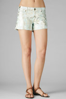 7 For All Mankind The CUT OFF SHORT in Mint with Gold Brocade Foil