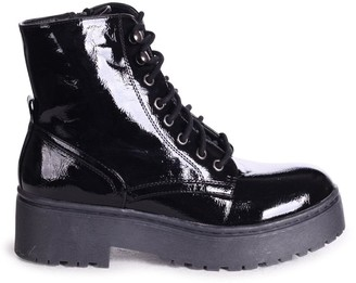 Linzi DESIRE - Black Patent Military Style Lace Up Boot With Chunky Black Rubber Sole
