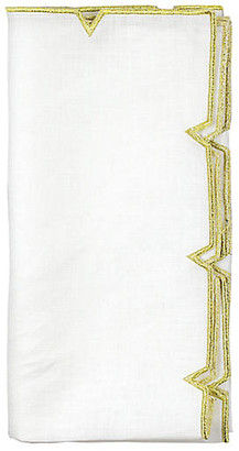 Kim Seybert Set of 4 Divot Dinner Napkin - White/Gold