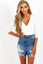 Pink Boutique Bend and Snap Mid Blue Distressed Denim Mini Skirt