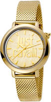 Just Cavalli 34mm Logo Stainless Steel Bracelet Watch, Gold