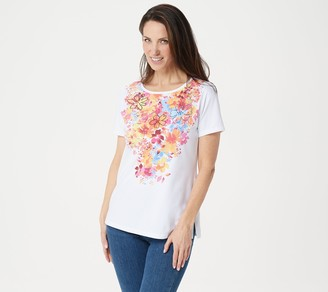 Factory Quacker Floral Printed Short Sleeve Knit Top
