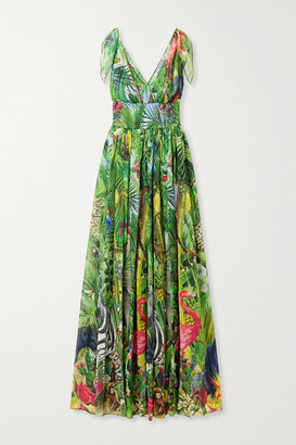 Dolce & Gabbana Smocked Printed Silk-georgette Gown - Green