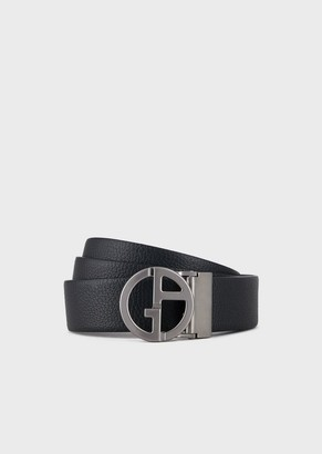 Giorgio Armani Reversible Belt In Smooth And Grained Leather